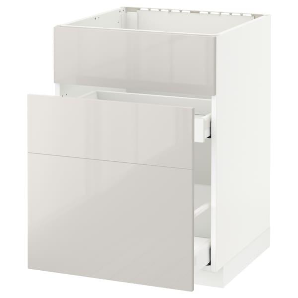 METOD / MAXIMERA Unterschr. f Spüle/3 Fronten/2Sch., weiß/Ringhult hellgrau, 60x60 cm