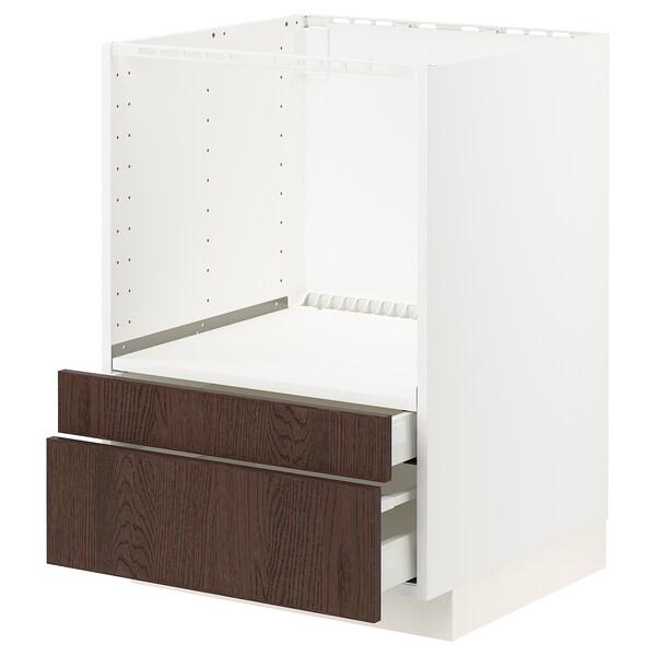 METOD / MAXIMERA Unterschr. für Kombimikro.+Schubl., weiß/Sinarp braun, 60x60 cm