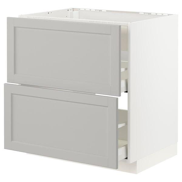 METOD / MAXIMERA Unterschr./Kochf./int.Dunstabz./Sch, weiß/Lerhyttan hellgrau, 80x60 cm