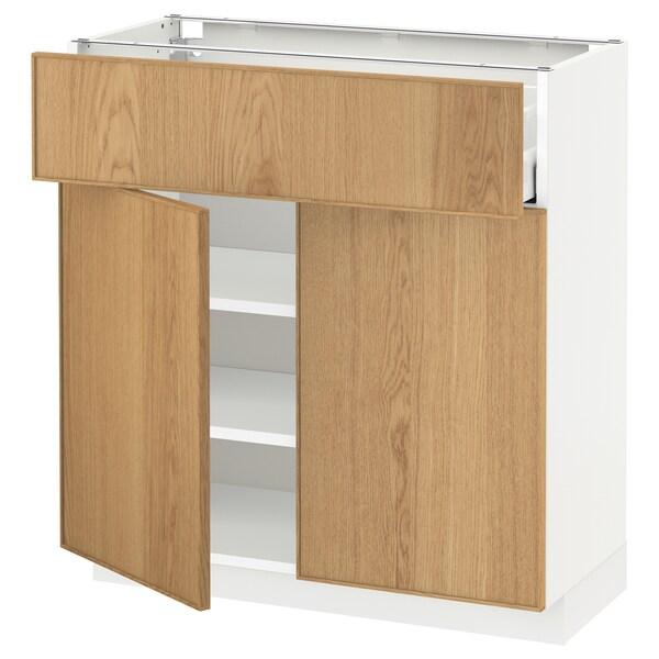 METOD / MAXIMERA Unterschr m Schub/2 Türen, weiß/Ekestad Eiche, 80x37 cm