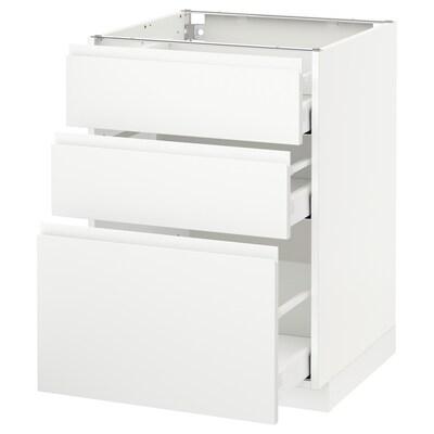 METOD / MAXIMERA Unterschrank mit 3 Schubladen, weiß/Voxtorp matt weiß, 60x60 cm