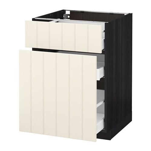 metod maximera unterschrank mit auszug schublade holzeffekt schwarz hittarp elfenbeinwei. Black Bedroom Furniture Sets. Home Design Ideas