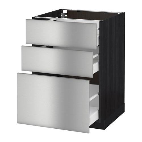 metod maximera unterschrank mit 3 schubladen holzeffekt schwarz grevsta edelstahl 60x60 cm. Black Bedroom Furniture Sets. Home Design Ideas