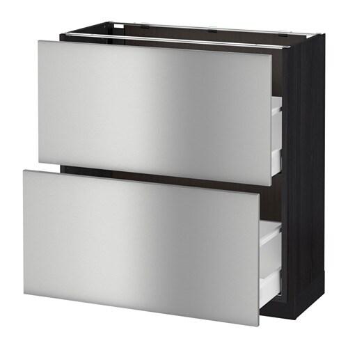 Vitrine Ikea Detolf Occasion ~ Unterschrank mit 2 Schubladen  Holzeffekt schwarz, Grevsta Edelstahl