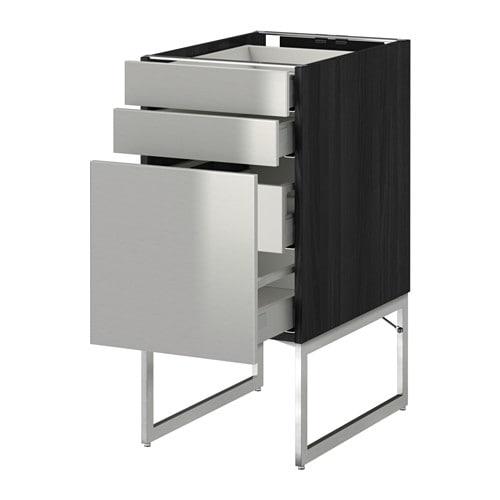 metod maximera uschr 3 fr 2 ni 2 haho sch holzeffekt schwarz grevsta edelstahl 40x60x60 cm. Black Bedroom Furniture Sets. Home Design Ideas