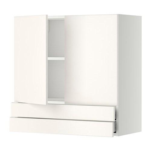 Wandschrank Weiß 25 Cm Tief : ... Wandschrank mit 2 Türen/2 Schubl. - weiß, Veddinge weiß, 80x80 cm