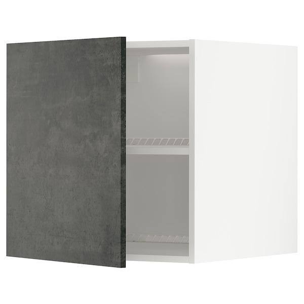 METOD Oberschr f Kühl-/Gefrierschrank, weiß/Kalhyttan Betonmuster dunkelgrau, 60x60 cm