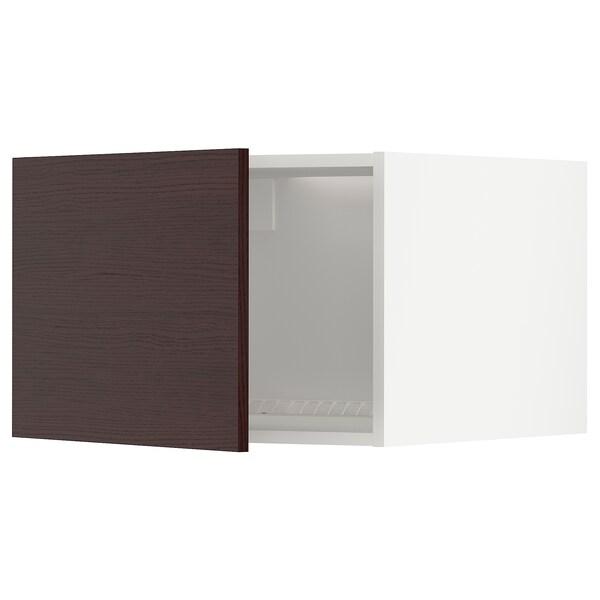 METOD Oberschrank f Kühl-/Gefrierschrank, weiß Askersund/dunkelbraun Eschenachbildung, 60x40 cm