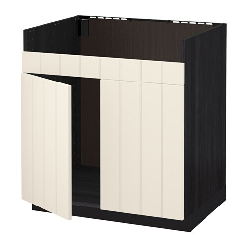 metod unterschrank f domsj sp le 2 holzeffekt schwarz hittarp elfenbeinwei ikea. Black Bedroom Furniture Sets. Home Design Ideas