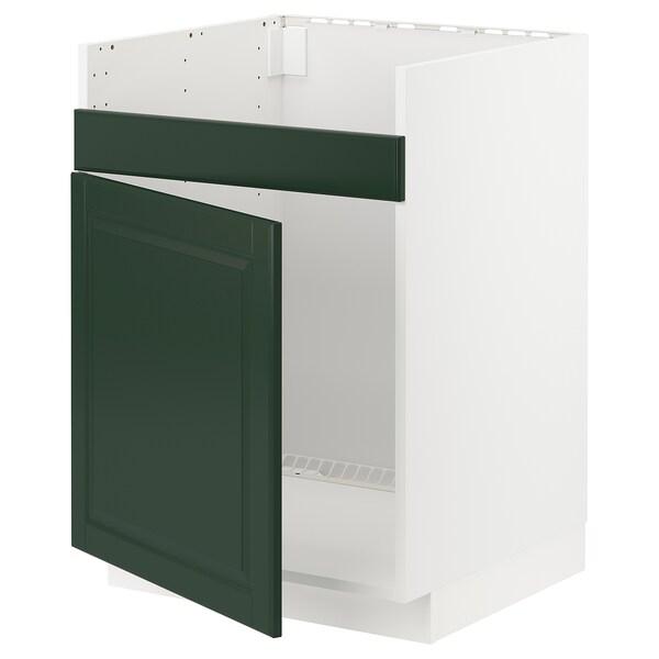 METOD Unterschrank f HAVSEN Spüle 1, weiß/Bodbyn dunkelgrün, 60x60 cm