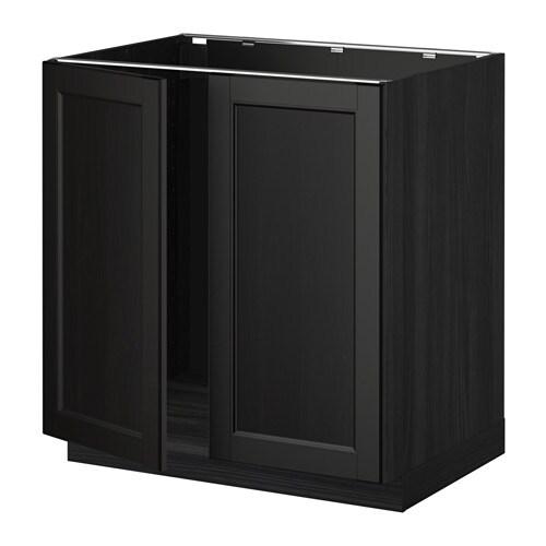 metod unterschrank f r sp le 2 t ren holzeffekt schwarz laxarby schwarzbraun ikea. Black Bedroom Furniture Sets. Home Design Ideas