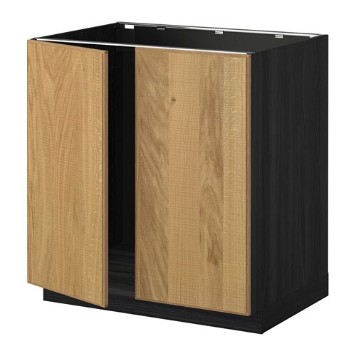 metod unterschrank f r sp le 2 t ren holzeffekt schwarz hyttan eichenfurnier ikea. Black Bedroom Furniture Sets. Home Design Ideas