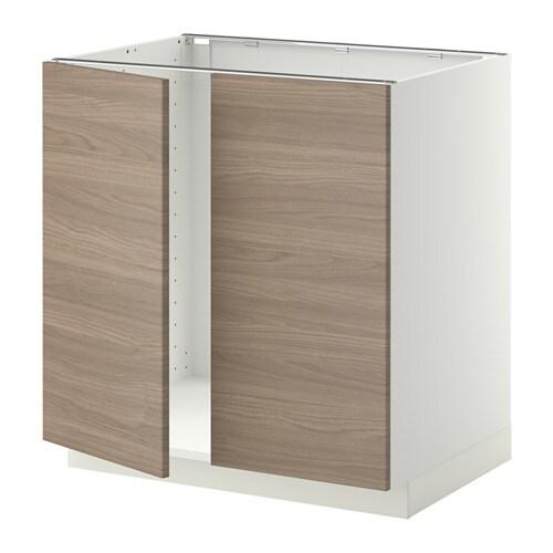 metod unterschrank f r sp le 2 t ren wei brokhult nussbaumnachbildung hellgrau ikea. Black Bedroom Furniture Sets. Home Design Ideas