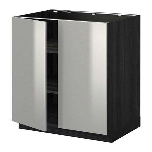 Vitrine Ikea Detolf Occasion ~ Unterschrank m Böden 2Türen  Holzeffekt schwarz, Grevsta Edelstahl