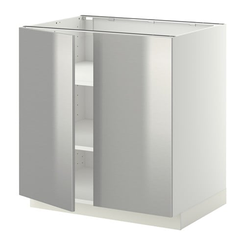 Ikea Unterschrank Herd Metod ~ METOD Unterschrank m Böden 2Türen  Grevsta Edelstahl, weiß, 80×60