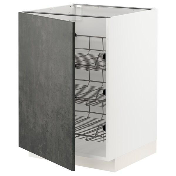 METOD Unterschrank mit Drahtkörben, weiß/Kalhyttan Betonmuster dunkelgrau, 60x60 cm
