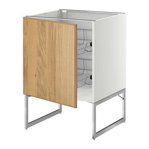 metod unterschrank mit drahtk rben hyttan eichenfurnier. Black Bedroom Furniture Sets. Home Design Ideas