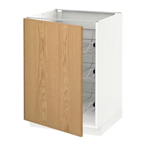 metod unterschrank mit drahtk rben ekestad eiche 60x60 cm ikea. Black Bedroom Furniture Sets. Home Design Ideas