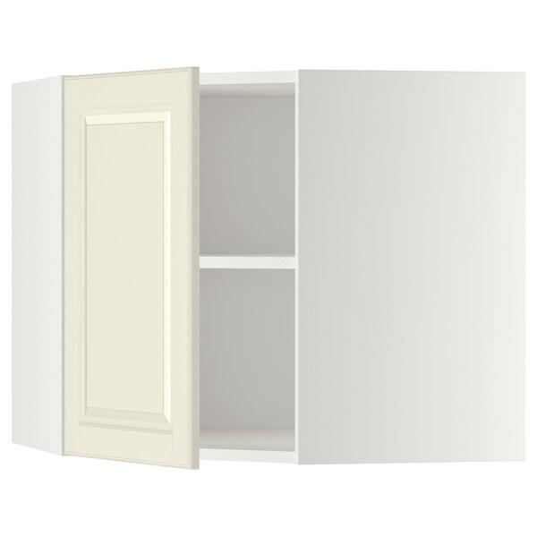 METOD Wandeckschrank mit Böden, weiß/Bodbyn elfenbeinweiß, 68x60 cm