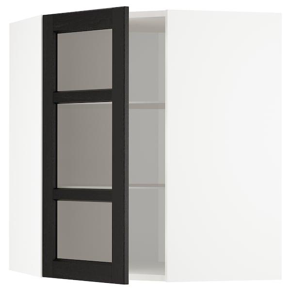 METOD Wandeckvitrine mit Böden, weiß/Lerhyttan schwarz lasiert, 68x80 cm