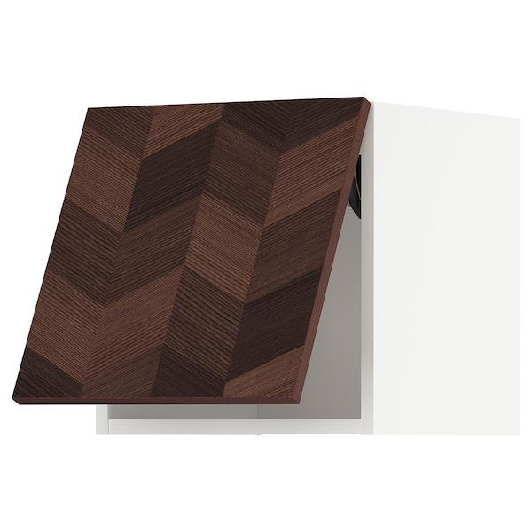 METOD Wandschrank horiz. m Drucksystem, weiß Hasslarp/braun gemustert, 40x40 cm