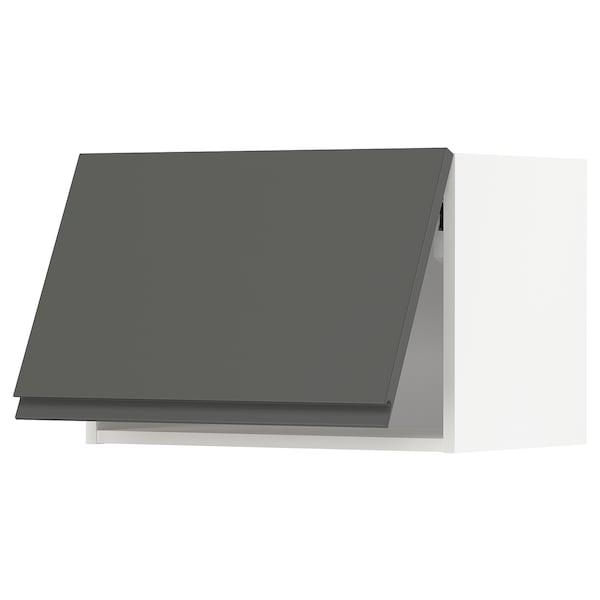 METOD Wandschrank horiz. m Drucksystem, weiß/Voxtorp dunkelgrau, 60x40 cm