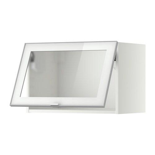 metod wandschrank horiz. m vitrinentür - jutis frostglas/aluminium ... - Küchen Hängeschrank Ikea