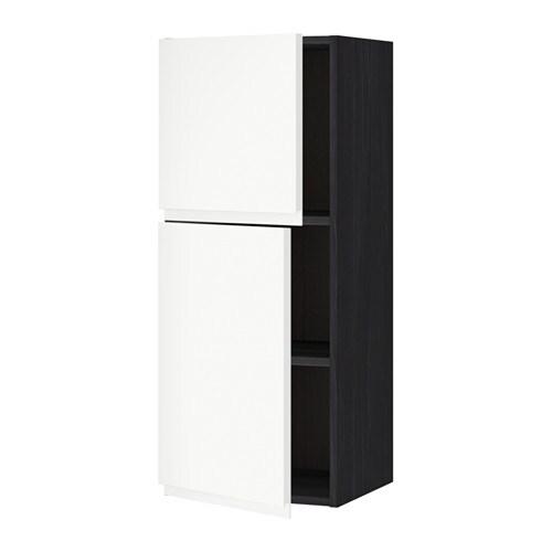 metod wandschrank mit b den und 2 t ren holzeffekt schwarz voxtorp wei 40x100 cm ikea. Black Bedroom Furniture Sets. Home Design Ideas