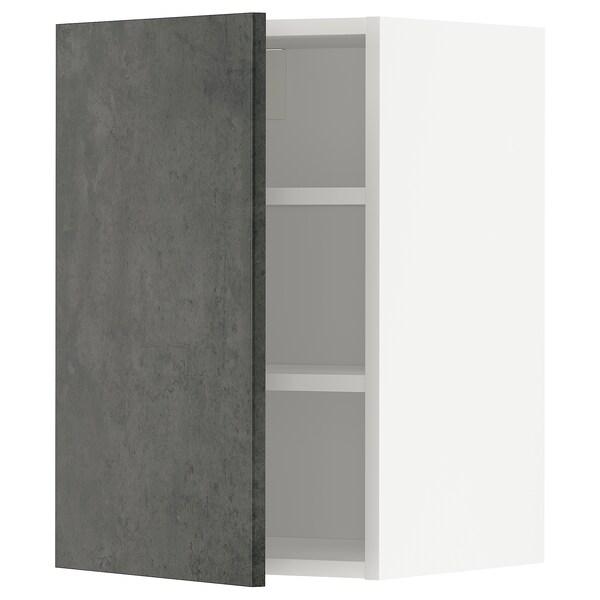 METOD Wandschrank mit Böden, weiß/Kalhyttan Betonmuster dunkelgrau, 40x60 cm