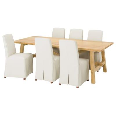 MÖCKELBY / BERGMUND Tisch und 6 Stühle, Eiche/Inseros weiß, 235x100 cm