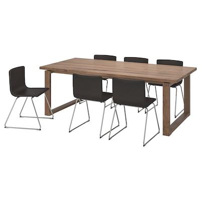 MÖRBYLÅNGA / BERNHARD Tisch und 6 Stühle, braun/Kavat dunkelbraun, 220x100 cm