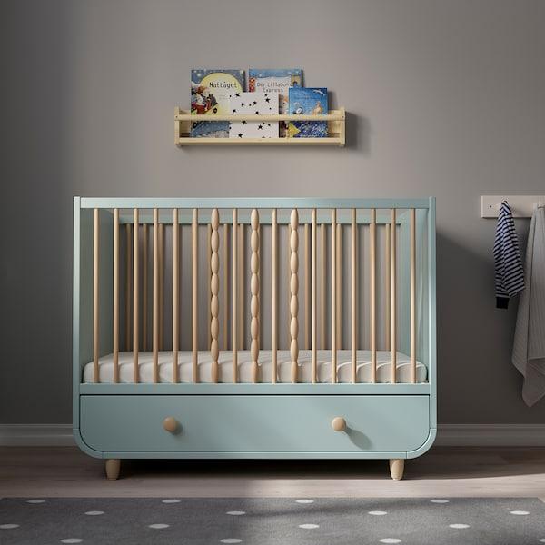 MYLLRA Babybett mit Schubfach, helltürkis, 70x140 cm