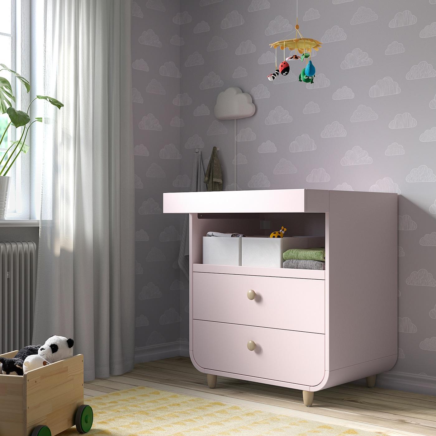 MYLLRA Wickeltisch mit Schubladen blassrosa IKEA Österreich