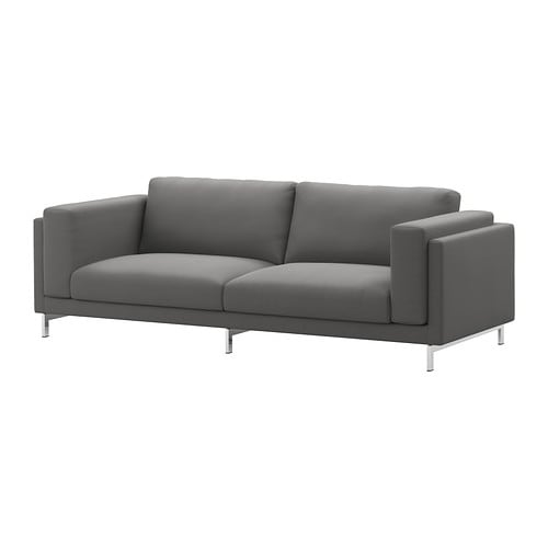 nockeby 3er sofa risane grau verchromt ikea. Black Bedroom Furniture Sets. Home Design Ideas