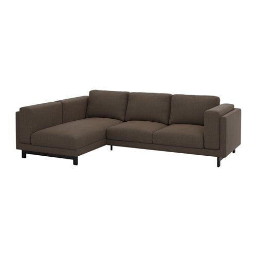 nockeby 2er sofa mit r camiere links links ten braun holz ikea. Black Bedroom Furniture Sets. Home Design Ideas