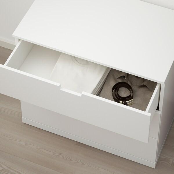 NORDLI Kommode mit 3 Schubladen weiß 80 cm 47 cm 76 cm 37 cm
