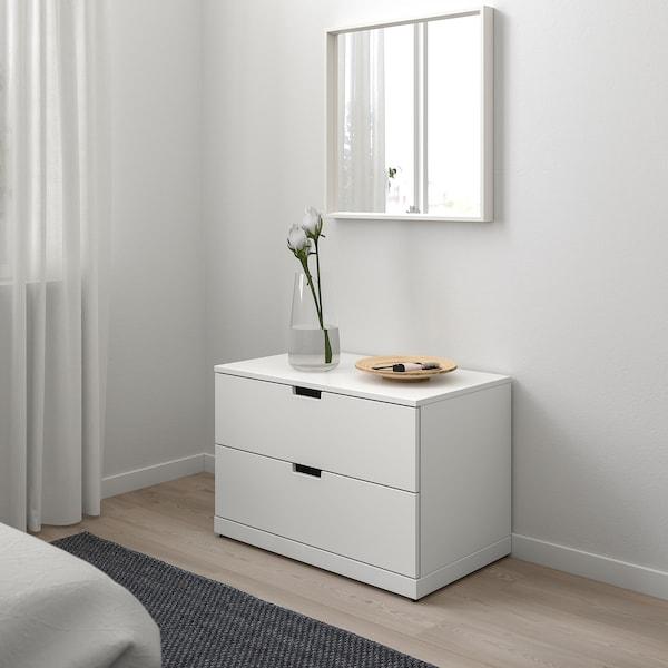 NORDLI Kommode mit 2 Schubladen, weiß, 80x54 cm