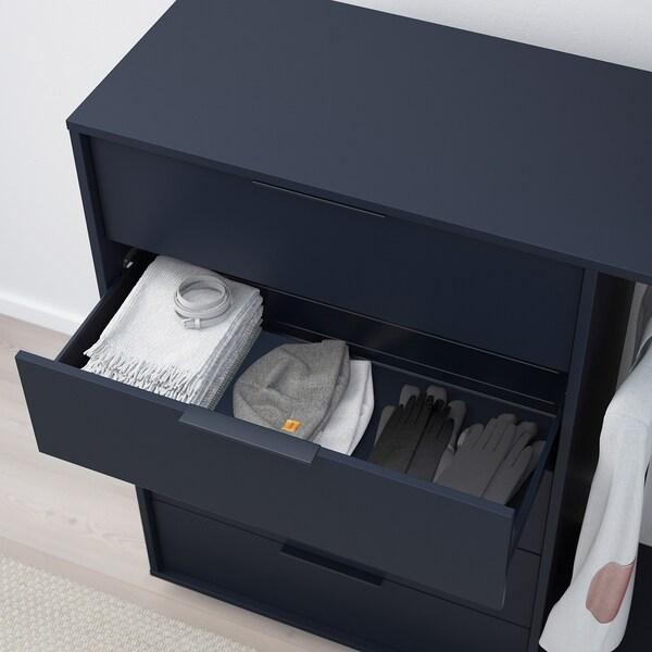 NORDMELA Kommode mit Kleiderstange, schwarzblau, 119x118 cm