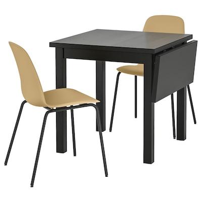 NORDVIKEN / LEIFARNE Tisch und 2 Stühle, schwarz/Broringe schwarz, 74/104x74 cm