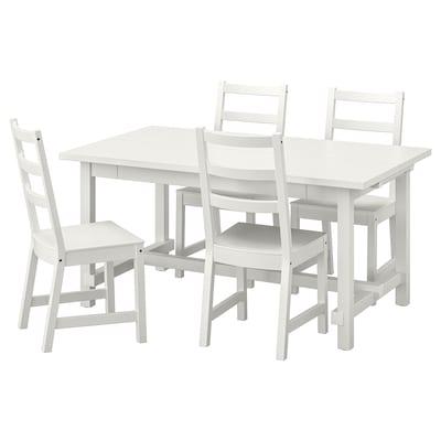 NORDVIKEN / NORDVIKEN Tisch und 4 Stühle, weiß/weiß, 152/223x95 cm