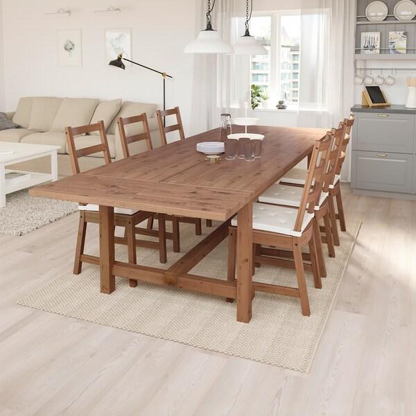 NORDVIKEN / NORDVIKEN Tisch und 6 Stühle, Antikbeize/Antikbeize, 210/289x105 cm