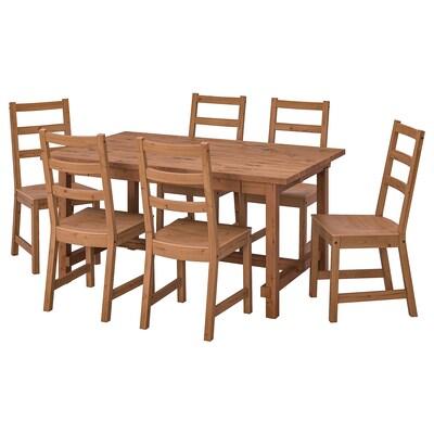 NORDVIKEN / NORDVIKEN Tisch und 6 Stühle, Antikbeize/Antikbeize, 152/223x95 cm