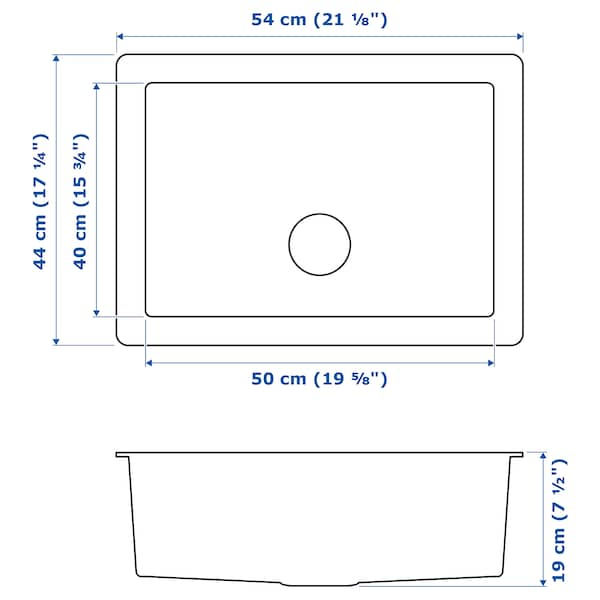 NORRSJÖN Einbauspüle, 1 Becken, Edelstahl, 54x44 cm