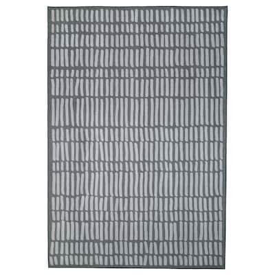 OMTÄNKSAM Teppich flach gewebt, grau, 133x195 cm