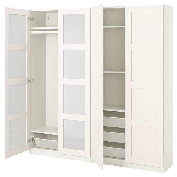 PAX / BERGSBO Schrankkombination, weiß/Frostglas, 200x38x201 cm