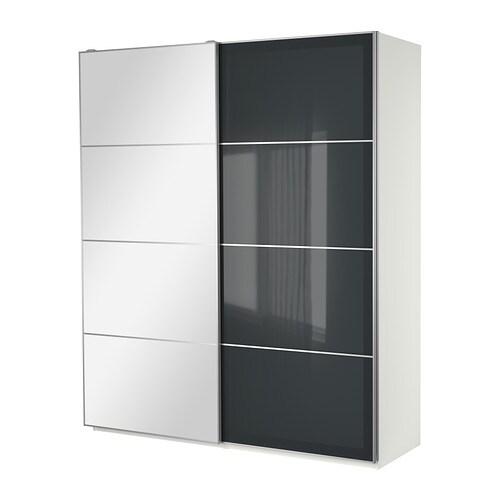 Ikea Kleiderschrank Weiß Mit Schiebetüren ~ PAX Kleiderschrank mit Schiebetüren  weiß, 200x66x236 cm  IKEA