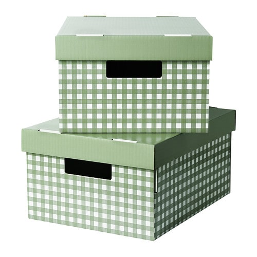 pingla box mit deckel gr n 28x37x18 cm ikea. Black Bedroom Furniture Sets. Home Design Ideas