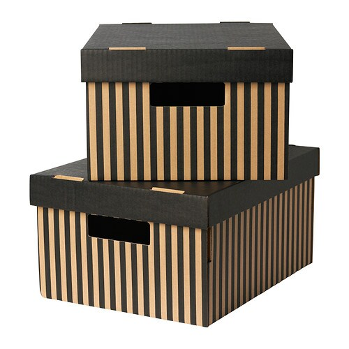 pingla box mit deckel schwarz 28x37x18 cm ikea. Black Bedroom Furniture Sets. Home Design Ideas