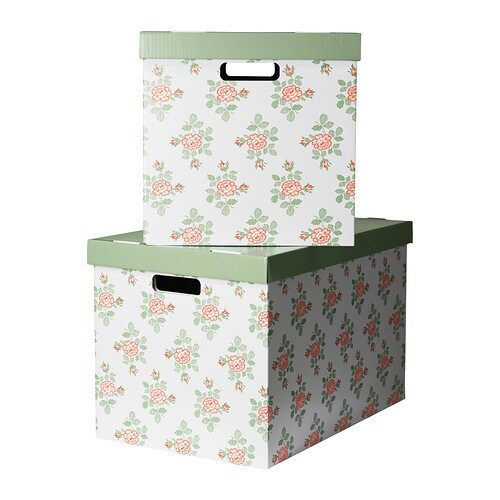pingla box mit deckel blumen 56x37x36 cm ikea. Black Bedroom Furniture Sets. Home Design Ideas