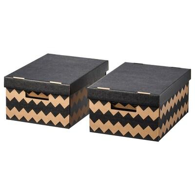 PINGLA Box mit Deckel schwarz/naturfarben 28 cm 37 cm 18 cm 2 Stück